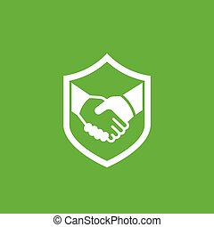 safe deal, partnership, trust icon with handshake, eps 10 ...