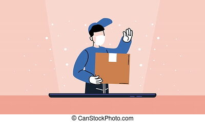 safe delivery courier wearing medical mask with carton box ,4k video animated