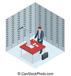 Safe Deposit Boxes and Security concept The man opened his banking cell and considers money Open safe deposit box with golden ingots Financial banking investment concept Vector isometric illustration