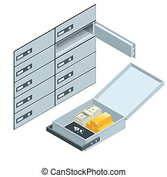 Safe Deposit Boxes. Open safe deposit box with golden ingots. Financial banking investment concept. Vector isometric illustration.