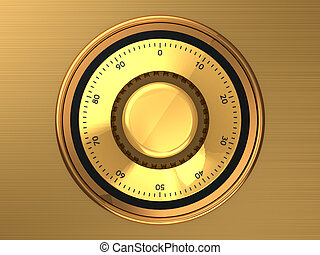 Safe dial - Golden safe dial with code