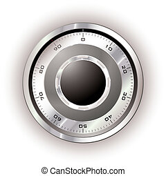 Safe dial white - Silver safe dial with white background and...