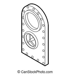 Safe door icon, outline style