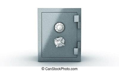 Safe door opening. Camera flying in