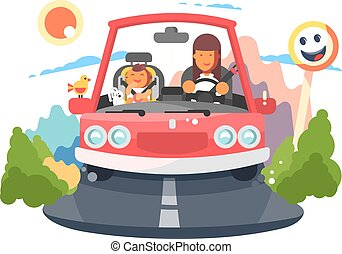 Safe driving mother with baby children car trip.