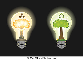 Safe energy - Two light bulbs: one with nuclear explosion...
