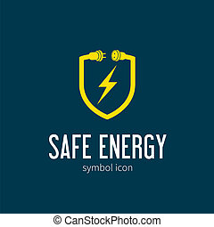 Safe Energy With Blizzard Vector Concept Symbol Icon or Logo Template