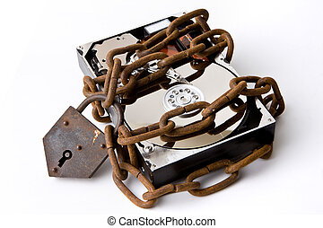 Safe files - Opened hard disk secured with a strong iron ...