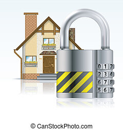 Safe House Concept - Home Icon with Code Padlock, isolated...