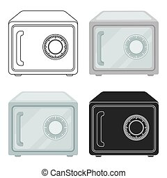 Safe icon in cartoon style isolated on white background. Hotel symbol stock vector illustration.