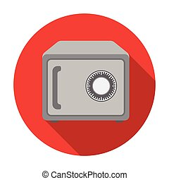 Safe icon in flat style isolated on white background. Hotel symbol stock vector illustration.