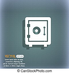 safe icon. On the blue-green abstract background with shadow and space for your text. Vector
