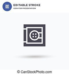 Safe icon vector, filled flat sign, solid pictogram isolated on white, logo illustration. Safe icon for presentation.