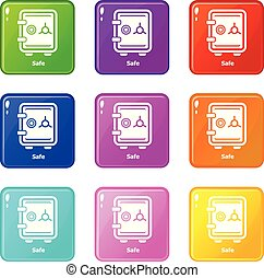 Safe icons set 9 color collection isolated on white for any...