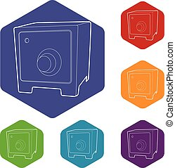 Safe icons vector hexahedron - Safe icons vector colorful...