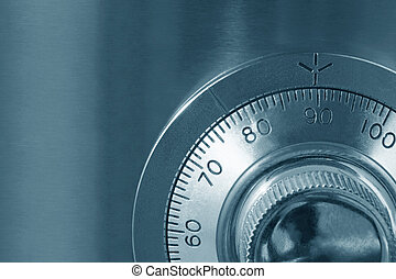 Safe Lock - Combination safe lock, close-up view, in cyan...