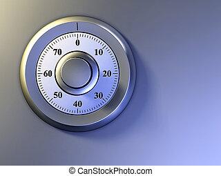 Numeric lock on a safe door. Digital illustration.