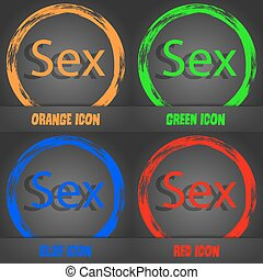 Safe love sign icon. Safe sex symbol. Fashionable modern style. In the orange, green, blue, red design. Vector