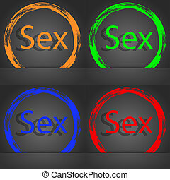 Safe love sign icon. Safe sex symbol. Fashionable modern style. In the orange, green, blue, red design.