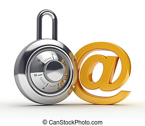 safe mail-lock and e-mail symbol