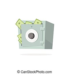 Safe money deposit box vector illustration isolated on white background
