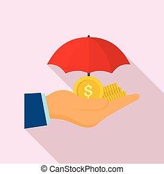 Safe money hand icon, flat style