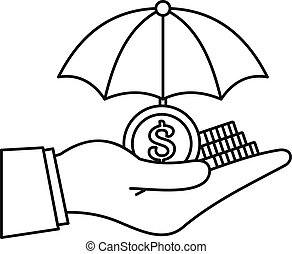 Safe money hand icon, outline style