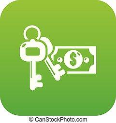 Safe money icon green vector