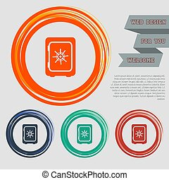 Safe money icon on the red, blue, green, orange buttons for your website and design with space text. Vector