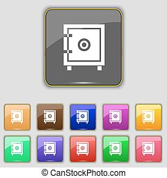 Safe money icon sign. Set with eleven colored buttons for your site. Vector