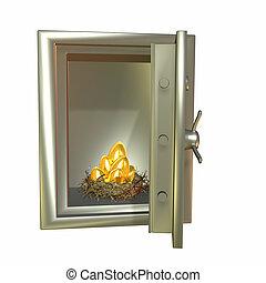 Safe Nest Eggs - Nest full of golden eggs in a metal safe