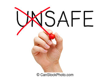 Hand changing the word Unsafe into Safe with red marker isolated on white.