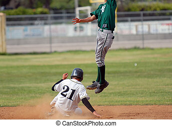 Safe on Second Base - runner safe on second as second...