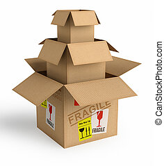 Safe Packaging - A box inside the other. Concept of...