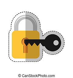 safe padlock with key isolated icon