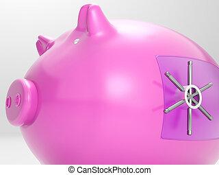 Safe Piggy Shows Money Savings Bank Protected