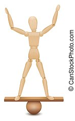 Safe Position Figure Standing On Unstable Balance