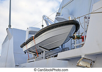 Safe power boat on naval ship.