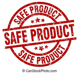 safe product round red grunge stamp