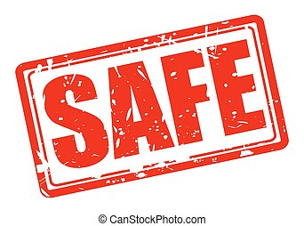 Safe red stamp text