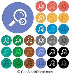 Safe search round flat multi colored icons