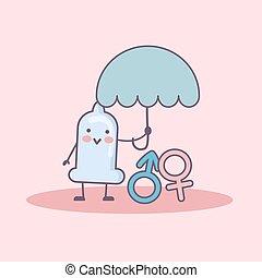 Safe Sex Concept - condom cartoon hold umbrella and protect...