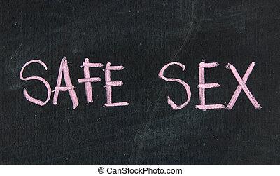 safe sex title on a school blackboard