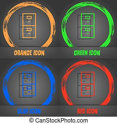 Safe sign icon. Deposit lock symbol. Fashionable modern style. In the orange, green, blue, red design. Vector