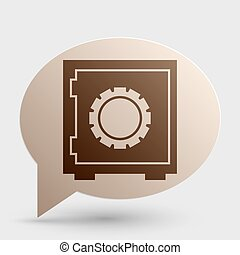 Safe sign illustration. Brown gradient icon on bubble with shadow.