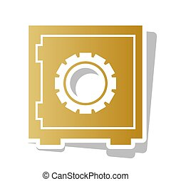 Safe sign illustration, crib, vault, lock box. Vector. Golden gr