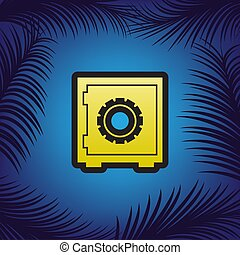 Safe sign illustration, crib, vault, lock box. Vector. Golden ic