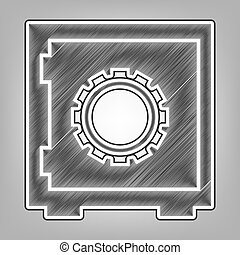 Safe sign illustration, crib, vault, lock box. Vector. Pencil sketch imitation. Dark gray scribble icon with dark gray outer contour at gray background.