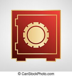 Safe sign illustration, crib, vault, lock box. Vector. Red icon on gold sticker at light gray background.