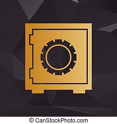 Safe sign illustration. Golden style on background with polygons.